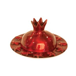 Ruby Red Anodized Aluminum Honey Dish with Pomegranate Cover - Yair Emanuel