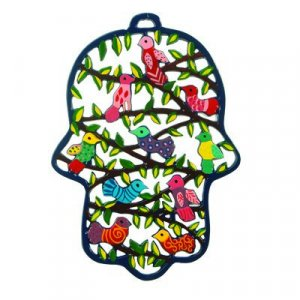 Large Laser Cut Hand-Painted Wall Hamsa, Flowers - Yair Emanuel