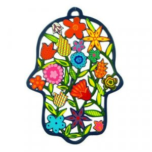 Large Laser Cut Hand-painted Colorful Wall Hamsa, Flowers - Yair Emanuel