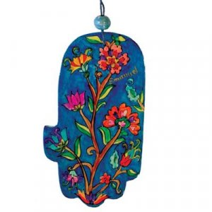 Hand Painted Wood Wall Hamsa, Red and Blue Flowers - Yair Emanuel