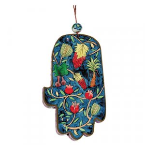 Hand Painted Wood Wall Hamsa, Colorful Seven Species - Yair Emanuel