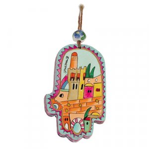 Small Colored Wood Wall Hamsa, Tower of David - Yair Emanuel