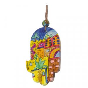 Small Hand Painted Wood Wall Hamsa, Golden Jerusalem Images - Yair Emanuel