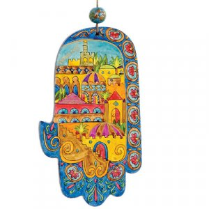 Hand Painted Wood Wall Hamsa Small, Golden Jerusalem - Yair Emanuel