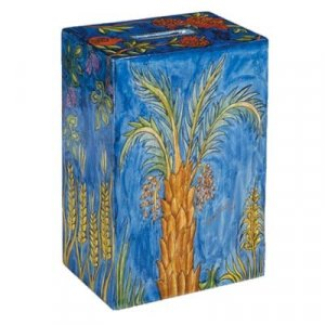 Hand Painted Rectangle Charity Tzedakah Box, Seven Species - Yair Emanuel