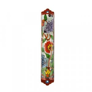 Hand painted Laser Cut Metal Mezuzah Case, Flowers - Yair Emanuel