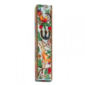 Large Hand Painted Wood Mezuzah Case, Forest Scene - Yair Emanuel