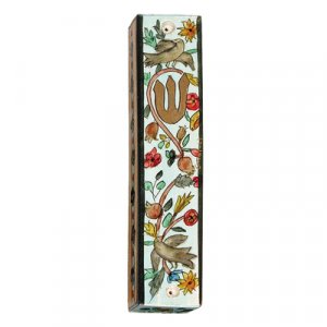 Large Hand Painted Wood Mezuzah Case, Birds on Blue - Yair Emanuel