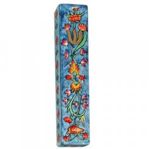 Large Hand Painted Wood Mezuzah Case, Flower Design on Blue - Yair Emanuel