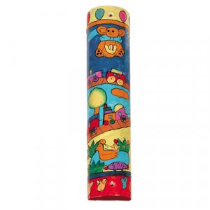 Large Hand Painted Wood Mezuzah Case, Childrens Design - Yair Emanuel