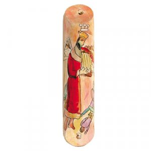 Large Hand Painted Wood Mezuzah Case, King David and his Harp - Yair Emanuel