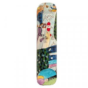 Large Hand Painted Wood Mezuzah Case, Colorful Bride and Groom - Yair Emanuel
