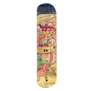 Large Hand Painted Wood Mezuzah Case, Jerusalem in Pink - Yair Emanuel