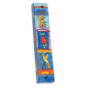 Large Hand Painted Wood Mezuzah Case, Birds and Pomegranates - Yair Emanuel