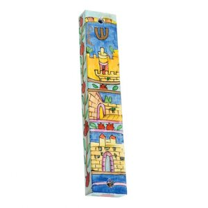 Large Hand Painted Wood Mezuzah, Jerusalem Gate - Yair Emanuel