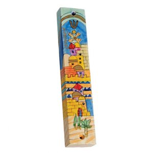 Large Hand Painted Wood Mezuzah, Jerusalem of Gold - Yair Emanuel