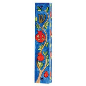 Large Hand Painted Wood Mezuzah Case, Pomegranate Branch - Yair Emanuel