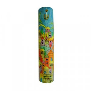 Large Hand Painted Wood Mezuzah Case, Colorful Jerusalem - Yair Emanuel