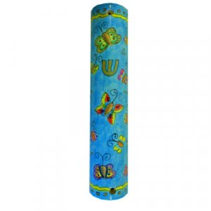 Large Hand Painted Wood Mezuzah Case, Colorful Butterflies - Yair Emanuel