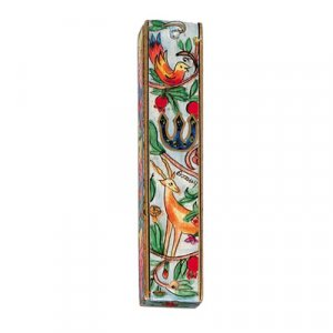 Small Hand Painted Wood Mezuzah Case, Deer and Birds - Yair Emanuel