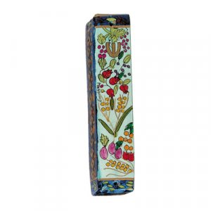 Small Hand Painted Wood Mezuzah Case, Seven Species - Yair Emanuel