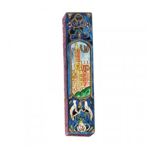 Small Hand Painted Wood Mezuzah Case, Tower of David on Blue - Yair Emanuel