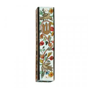 Small Hand Painted Wood Mezuzah Case, Birds and Pomegranates - Yair Emanuel