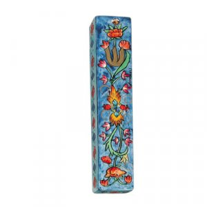 Small Hand Painted Wood Mezuzah Case, Floral Design - Yair Emanuel