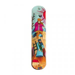 Small Hand Painted Wood Mezuzah Case, Fiddler on the Roof - Yair Emanuel