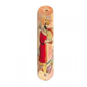 Small Hand Painted Wood Mezuzah Case, King David's Harp - Yair Emanuel