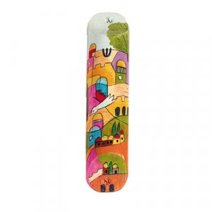 Small Hand Painted Wood Mezuzah Case, Dove over Jerusalem - Yair Emanuel