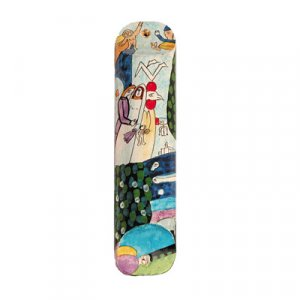 Small Wood Hand Painted Mezuzah, Bride and Groom at Wedding Chuppah - Yair Emanuel