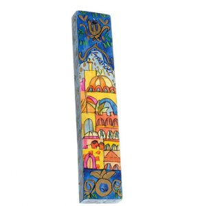 Small Hand Painted Wood Mezuzah Case, Jerusalem Panorama - Yair Emanuel