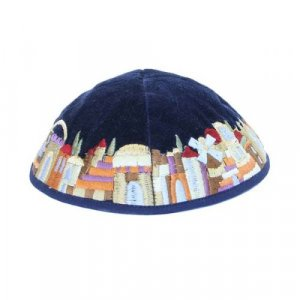 Blue Velvet Kippah with Embroidered Jerusalem Images, Colorful - Yair Emanuel