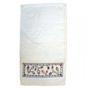 Netilat Yadayim Hand Towel, Embroidered Pomegranates - Yair Emanuel