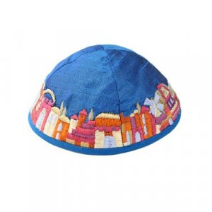 Embroidered Kippah, Colorful Jerusalem Images on Blue - Yair Emanuel