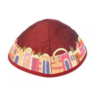 Embroidered Kippah, Colorful Jerusalem Images on Maroon - Yair Emanuel