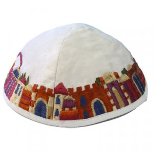 Embroidered Kippah, Colorful Jerusalem Images on White - Yair Emanuel