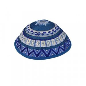 Kippah with Embroidered Geometric Designs, Blue – Yair Emanuel