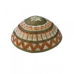 Kippah with Embroidered Geometric Designs, Brown and Green – Yair Emanuel