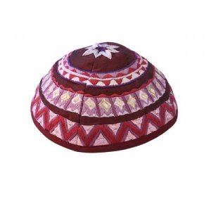 Kippah with Embroidered Geometric Designs, Maroon - Yair Emanuel