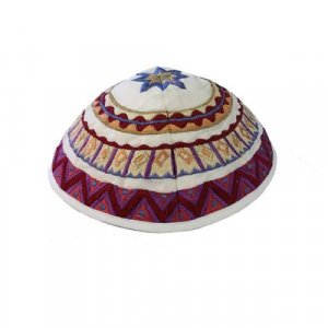Kippah with Embroidered Geometric Designs, Multicolored – Yair Emanuel