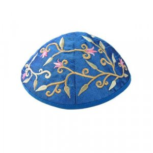 Embroidered Kippah with Flowers and Leaves, Blue - Yair Emanuel