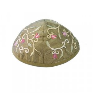 Embroidered Kippah with Flowers and Leaves, Gold - Yair Emanuel