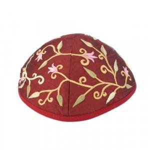 Embroidered Kippah with Flowers and Leaves, Maroon - Yair Emanuel