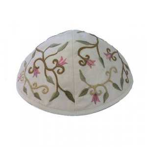 Embroidered Kippah with Flowers and Leaves, White - Yair Emanuel