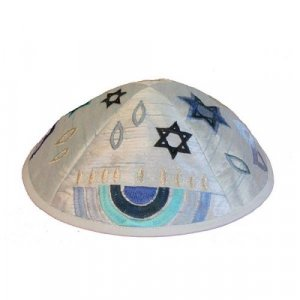 Embroidered Kippah with Judaica Symbols, Blue - Yair Emanuel