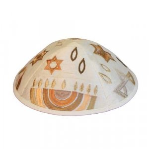 Embroidered Kippah with Judaica Symbols, Gold - Yair Emanuel