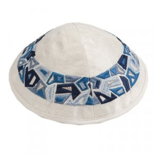 Embroidered Kippah, Blue Geometric Shapes Design on Cream - Yair Emanuel