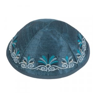 Embroidered Kippah with Date Palm Design, Blue - Yair Emanuel